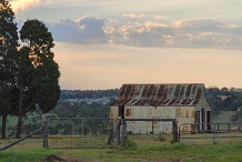 farm shed at sunset darling downs australiaAusBN